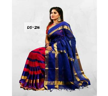 Multicolour Tat CottonSaree with Blouse Piece for Women-216