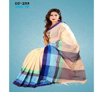 Multicolour Tat Cotton Saree with Blouse Piece for Women-223