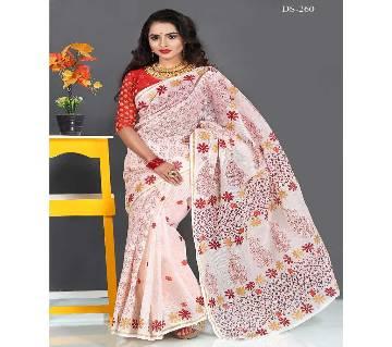 Multicolour Cotton Kot Skin Print Butic work Saree with Blouse Piece for Women-260