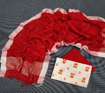 Unstitched Handloom Tat Cotton Shalwar Kameez For women [3pcs]-116