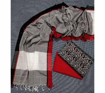 Unstitched Handloom Tat Cotton Shalwar Kameez For women [3pcs]-118