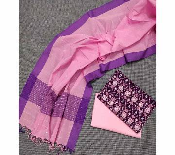 Unstitched Handloom Tat Cotton Shalwar Kameez For women [3pcs]-142