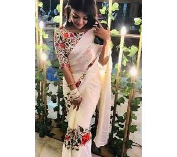 Multicolour Floral Indian Silk Saree with Blouse Piece for Women