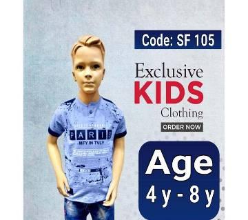 Half Sleeve Kids Polo Shirt  Ligth Blue