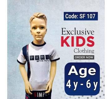 Half Sleeve Kids Polo Shirt  Mix Cotton