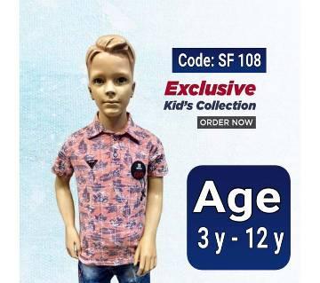 Half Sleeve Kids Polo Shirt  Light Pink
