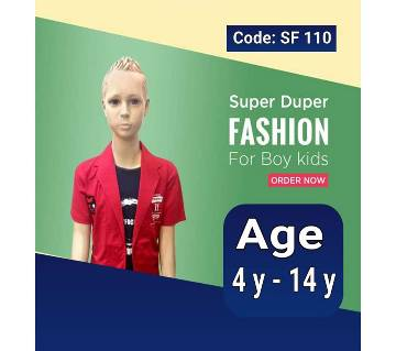 Half Sleeve Kids Polo Shirt - Red and Blue