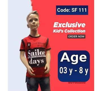 Half Sleeve Kids Polo Shirt - Red