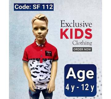 Half Sleeve Kids Polo Shirt White And Red