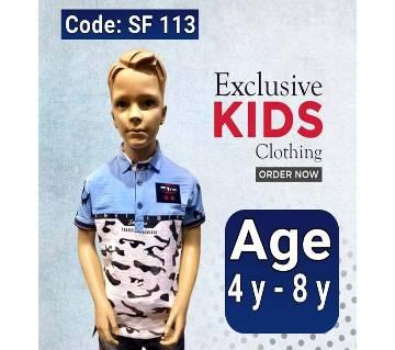 Half Sleeve Kids Polo Shirt Light Blue & White