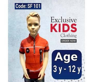 Half Sleeve Kids Polo Shirt Orange