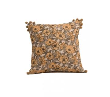 Garden/ Neutral Printed & Hand Embroidered Cushion Cover by Ivoryniche