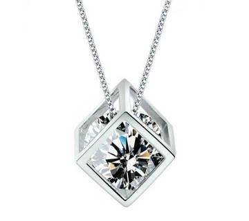 silver cube pendant love square necklaces