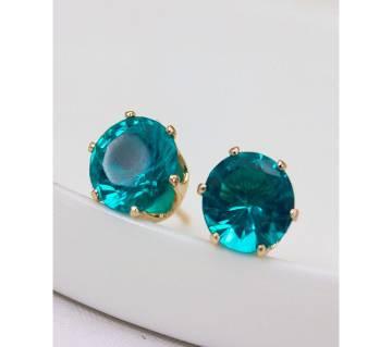 bottle green stud earrings