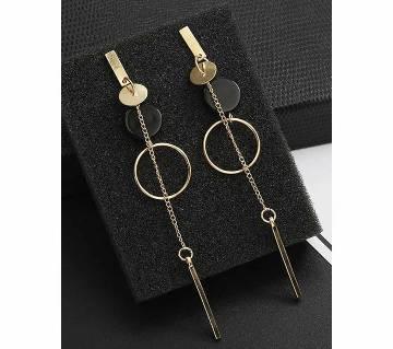 black bar long stop geometric circle earrings