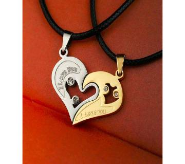 couple necklaces yellow silver color