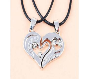 Lovers gifts silver color couple  necklaces