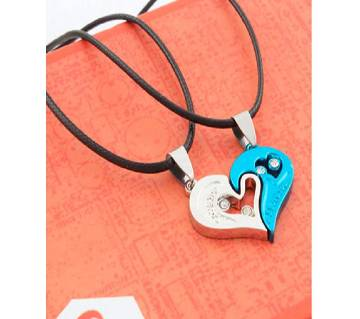 sky blue and silver color couple necklaces lovers gifts.