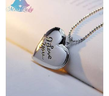 silver color i love u pendent necklaces for women