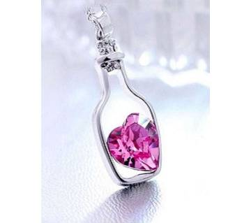 Mesenta color bottle drift heart shaped pendant necklaces for women