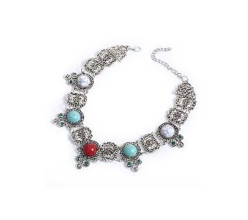 Multicolor metal necklaceswith Acrylic  stone for women