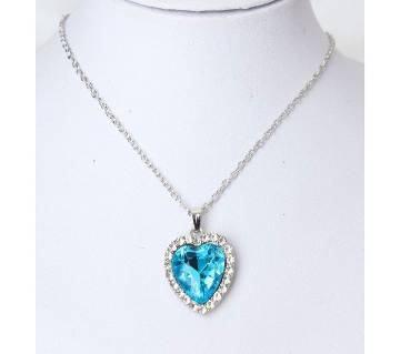 heart shaped crystal blue pendant necklaces for women