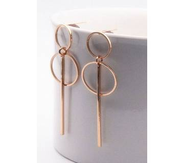 punk simple circular gold color earrings for women