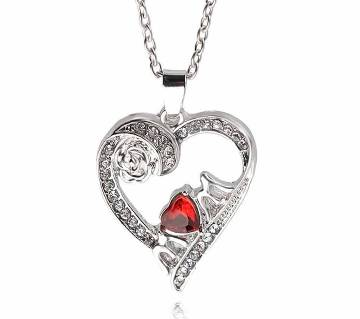 Silver color heart shaped pendant necklaces for women