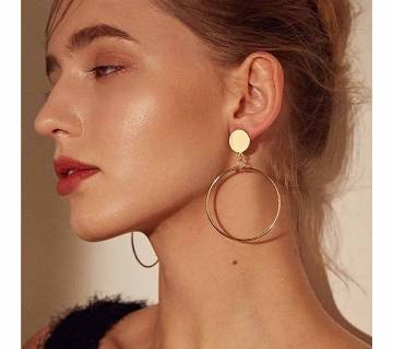 gold color silver plated Big round geometric earrings for women