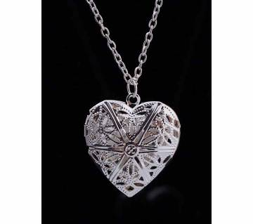 Hollow heart love pendant silver color necklaces for women