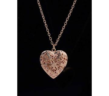 Hollow heart love pendant brown color necklaces for women