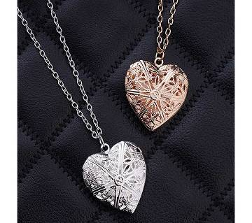 2 pisces silver and gold color hollow heart love pendant necklaces for women