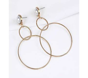Double circle golden color  big earrings for women
