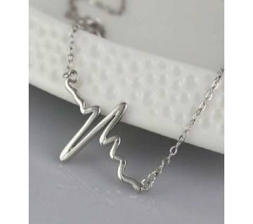 silver color ECG heart beat necklaces for women