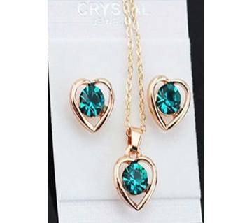 Green color heart shaped  jewelry set