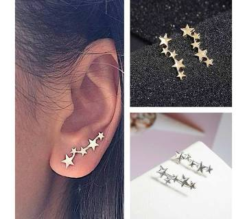 Moon star silver color stud earrings for women