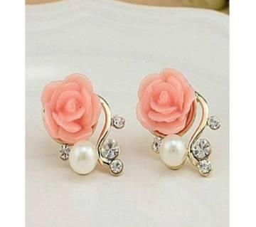Pink pearl rose crystal stud earrings for women