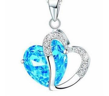 crystal blue  heart shaped pendant necklaces for women