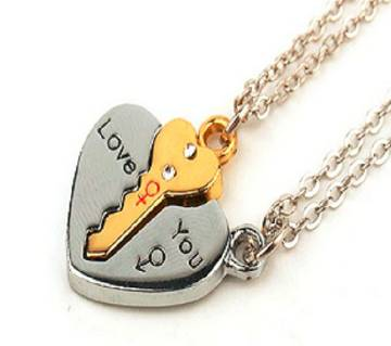Yellow love key pendant necklaces