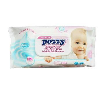 Pozzy Baby Wet Towel Wipes 120pcs-(5% VAT Included on Price)-2100963