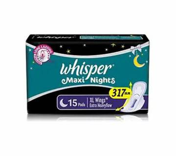 Whisper Maxi Nights Wings 15 Pad-(5% VAT Included on Price)-3009182