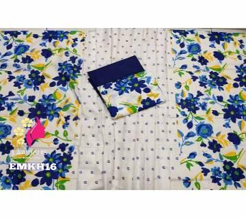 Unstitched cotton Salwar Kameez for women-Screen Print Khadi 171819