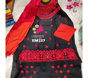Unstitched Cotton salwar kameez for women-HATER KAJ 27