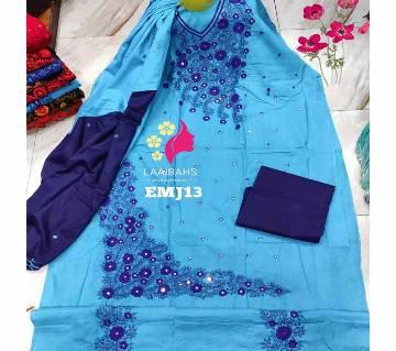 Unstitched Cotton salwar kameez for women  -HATER KAJ 13