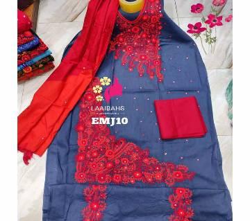 Unstitched Cotton salwar kameez for women  -Hater Kaj 10