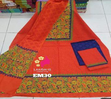 Unstitched Block Printed Rajdhani Voile 3 Pcs - 30