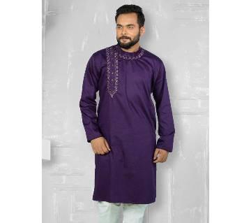 SEMI LONG COTTON PUNJABI FOR GENTS EID COLLECTION-purple