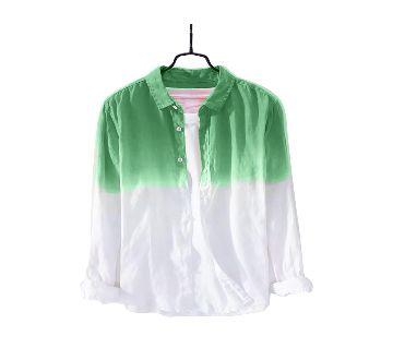 Waazir Lifestyle Pure cotton deep duying Shirt For Men-green white
