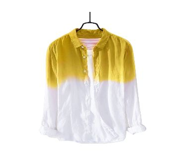 Waazir Lifestyle Pure cotton deep duying Shirt For Men -Yellow white
