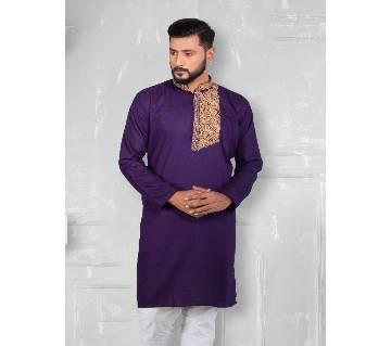 EID COLLECTION SEMI LONG COTTON PUNJABI FOR MEN-purple
